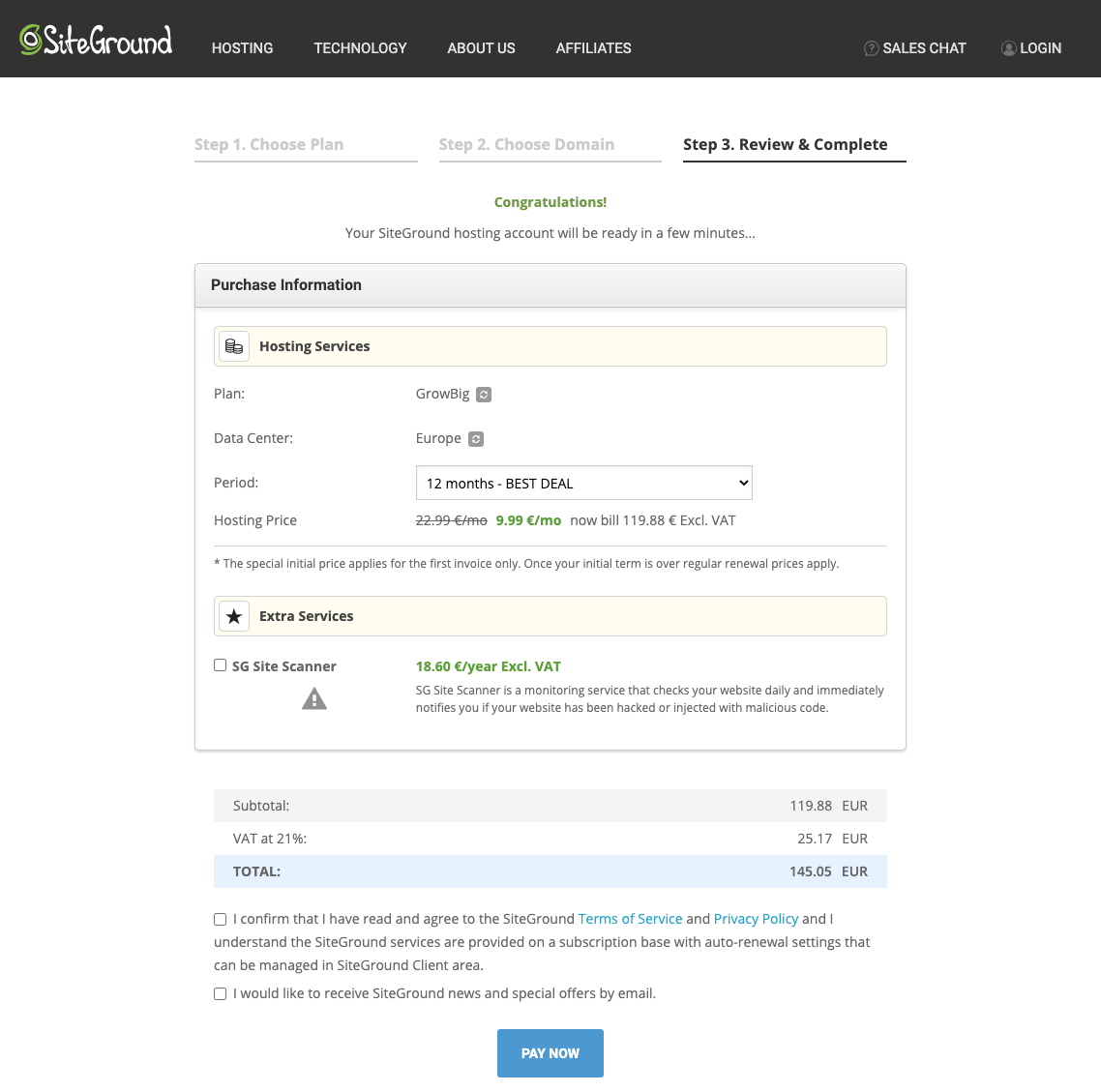 Pay for web hosting at Siteground